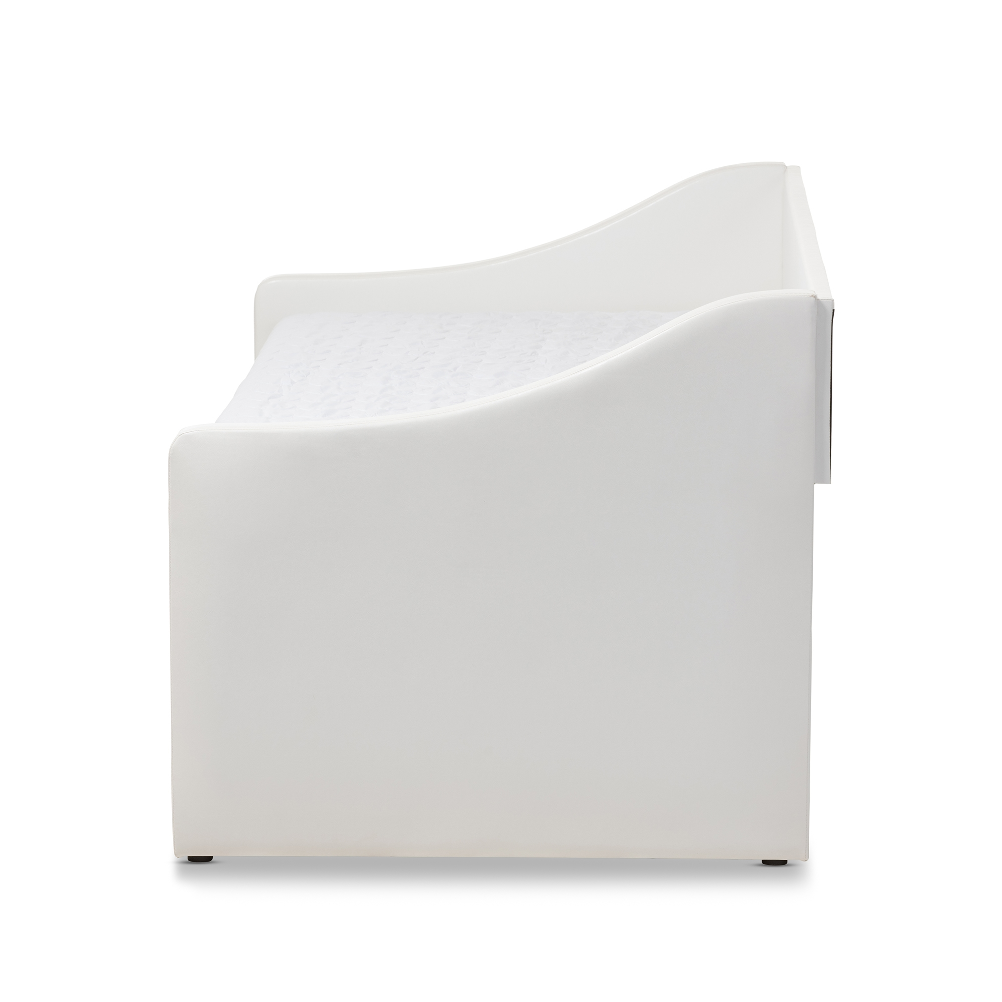 baxton studio barnstorm modern and white faux leather upholstered daybed with guest trundle bed - Modern Daybed