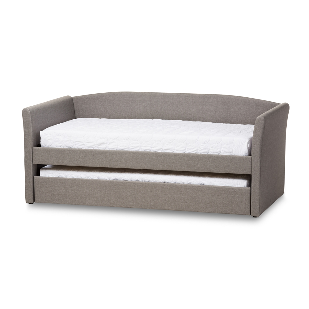 Design Modern Trundle Beds baxton studio camino modern and contemporary grey fabric upholstered daybed with guest trundle bed