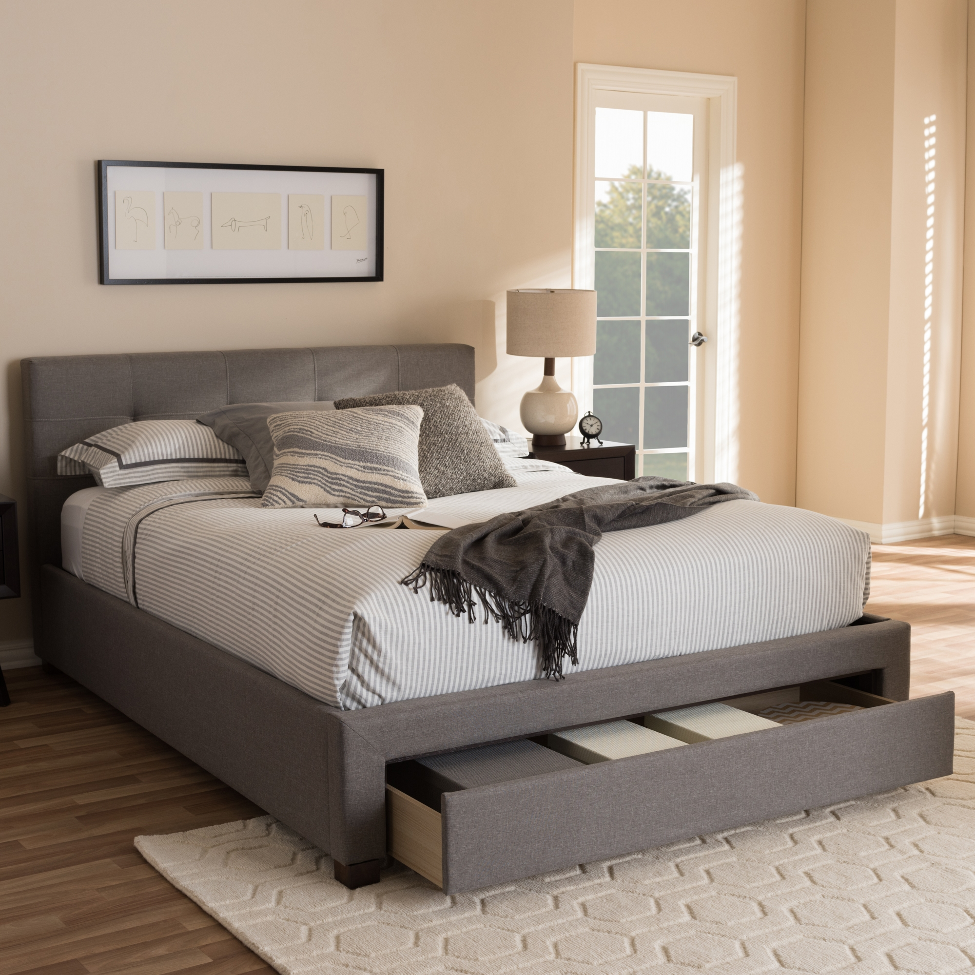 ... Baxton Studio Brandy Modern And Contemporary Grey Fabric Upholstered Queen  Size Platform Bed With Storage Drawer ...