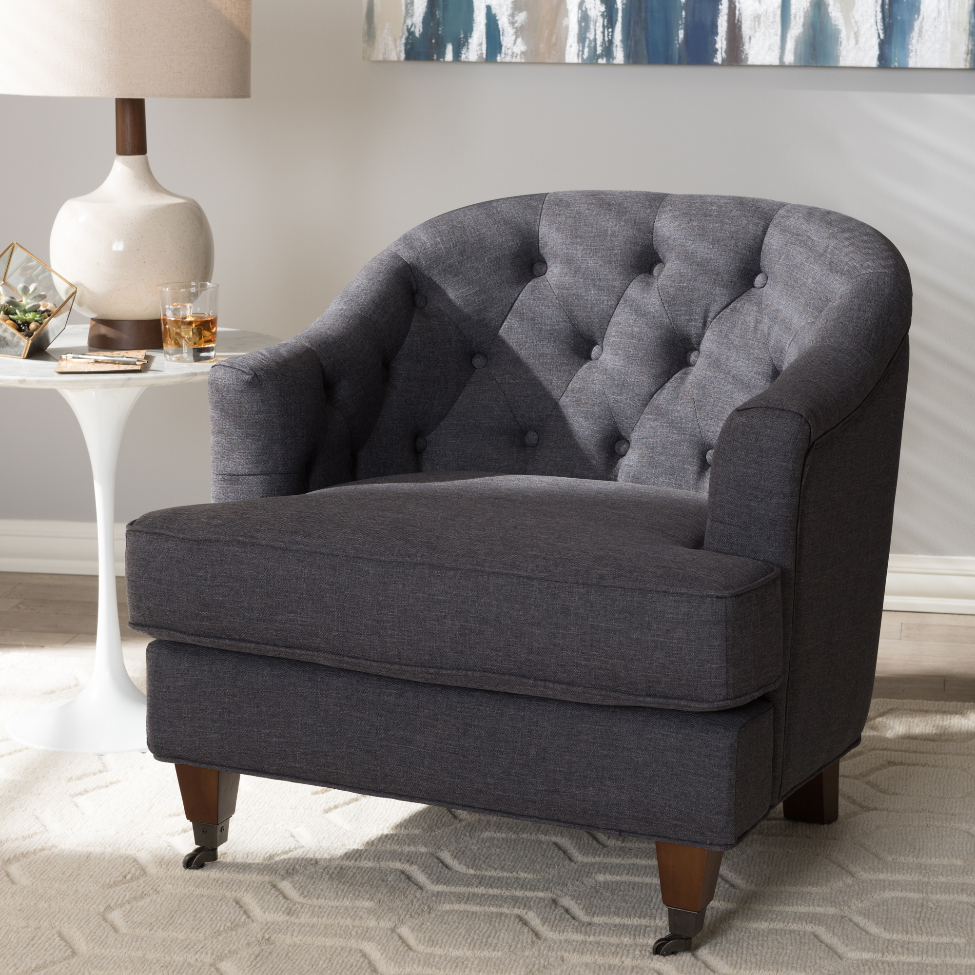 ... Baxton Studio Jilian Modern And Contemporary Dark Grey Fabric  Upholstered Walnut Wood Button Tufted Armchair ...