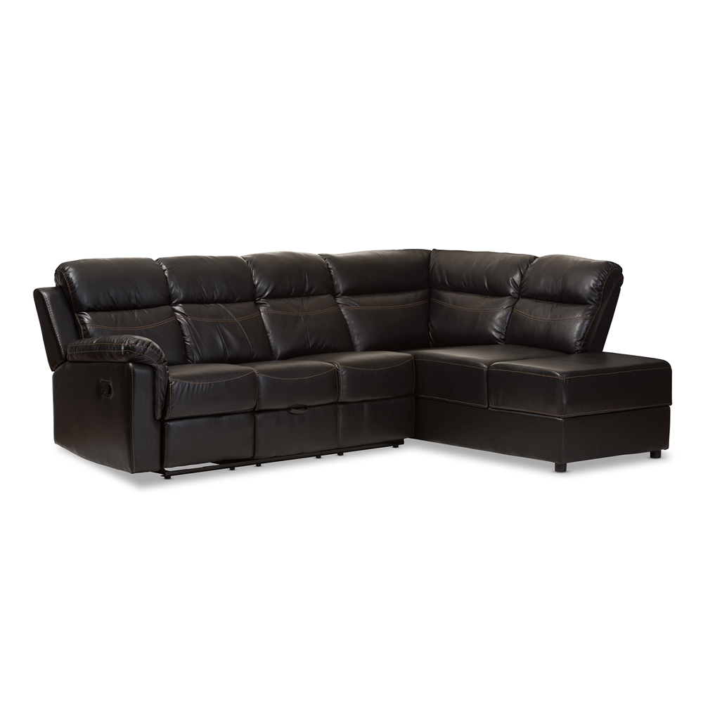 Baxton Studio Roland Modern and Contemporary Black Faux Leather 2-Piece  Sectional with Recliner and Storage Chaise