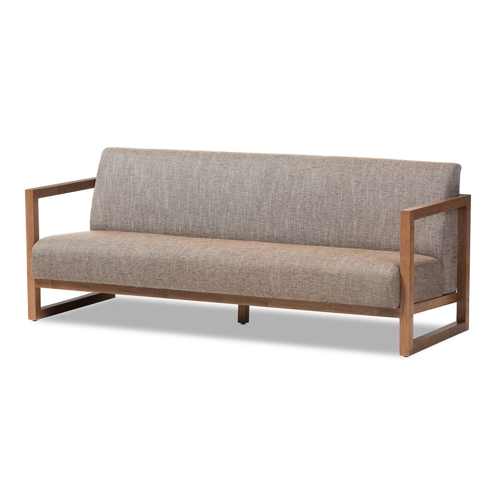 Baxton Studio Valencia Mid Century Modern Walnut Wood Finished Gravel Fabric Upholstered 3 Seater Sofa