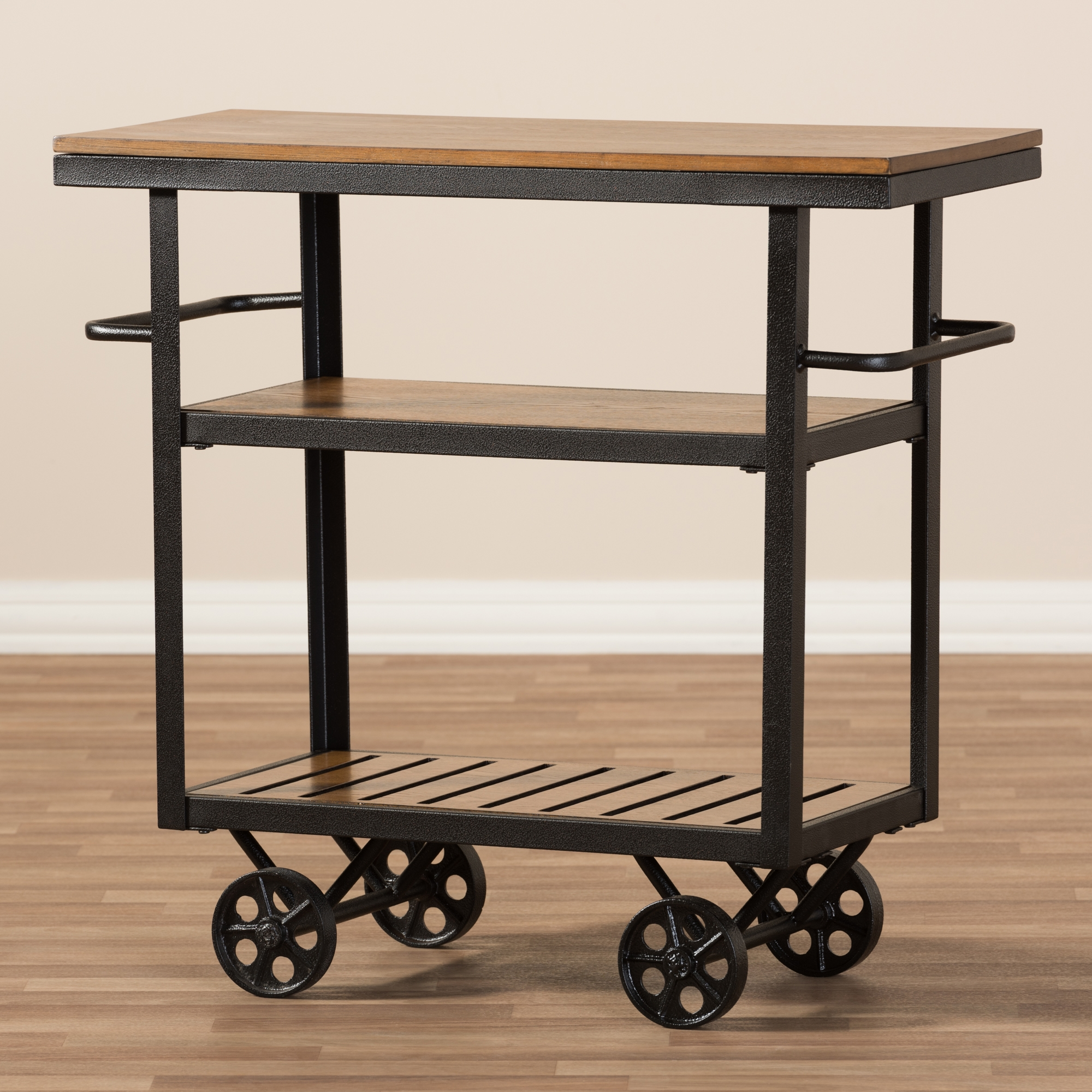 ... Baxton Studio Kennedy Rustic Industrial Style Antique Black Textured  Finished Metal Distressed Wood Mobile Serving Cart