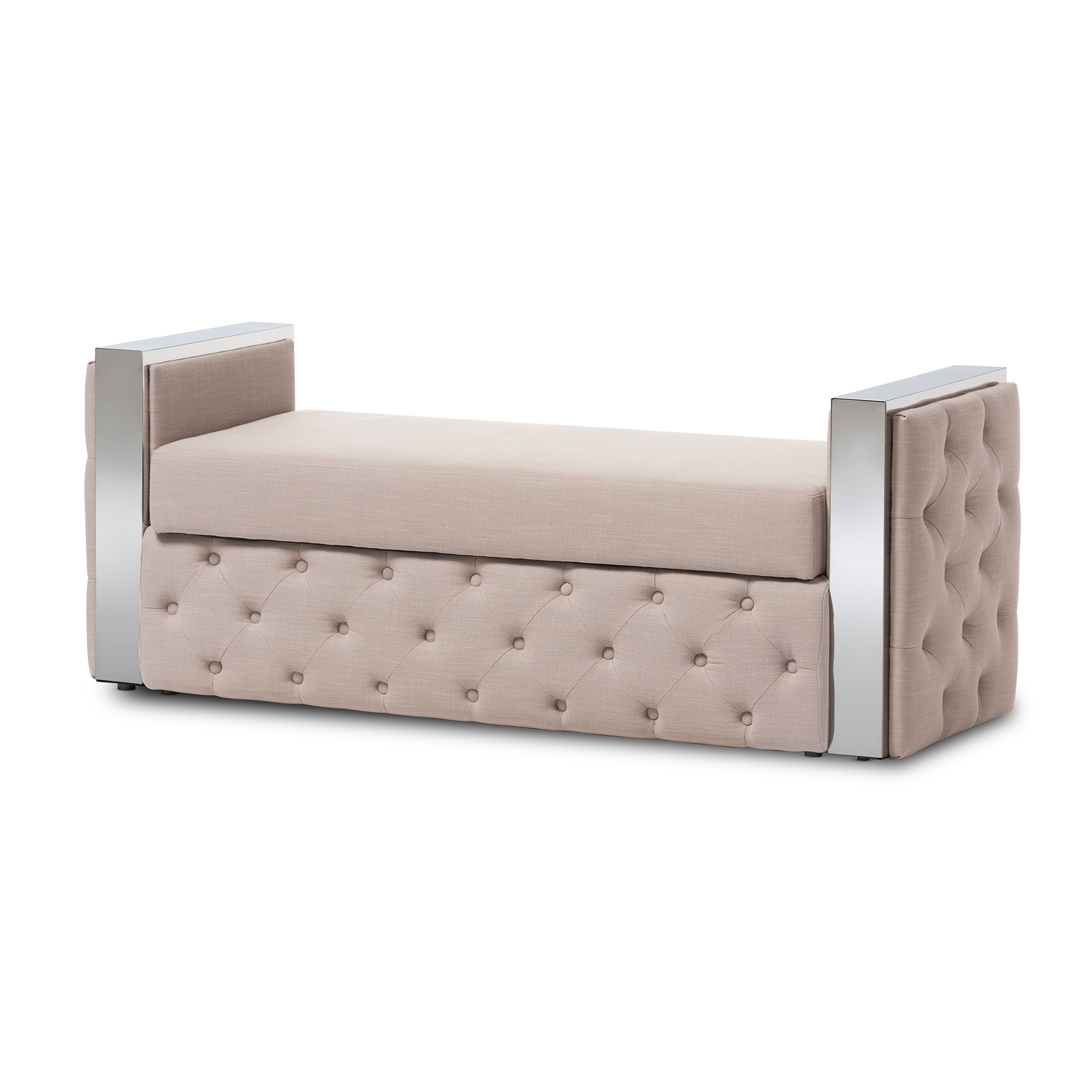 Bon Baxton Studio Fiona Modern And Contemporary Stainless Steel Beige Linen  Fabric Button Tufted Storage Bed End Bench