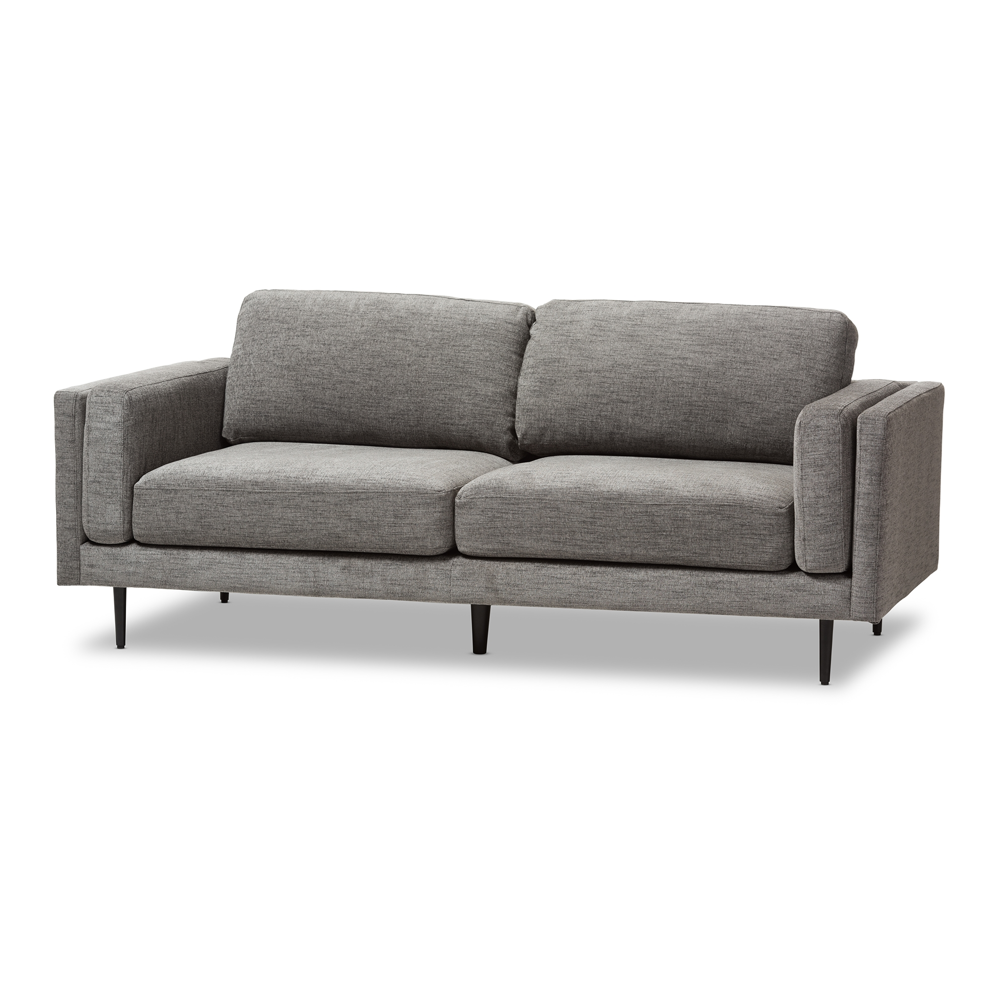 Baxton Studio Brittany Retro Mid Century Modern Grey Fabric Upholstered  3 Seater Loveseat
