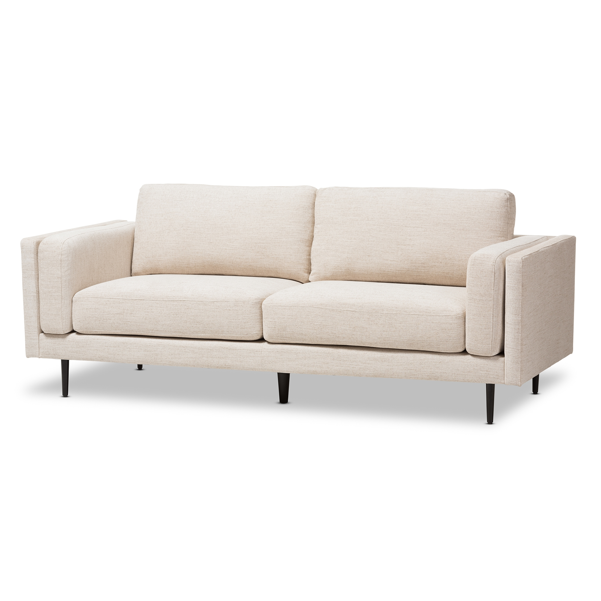 Baxton Studio Brittany Retro Mid Century Modern Light Beige Fabric  Upholstered 3 Seater Sofa