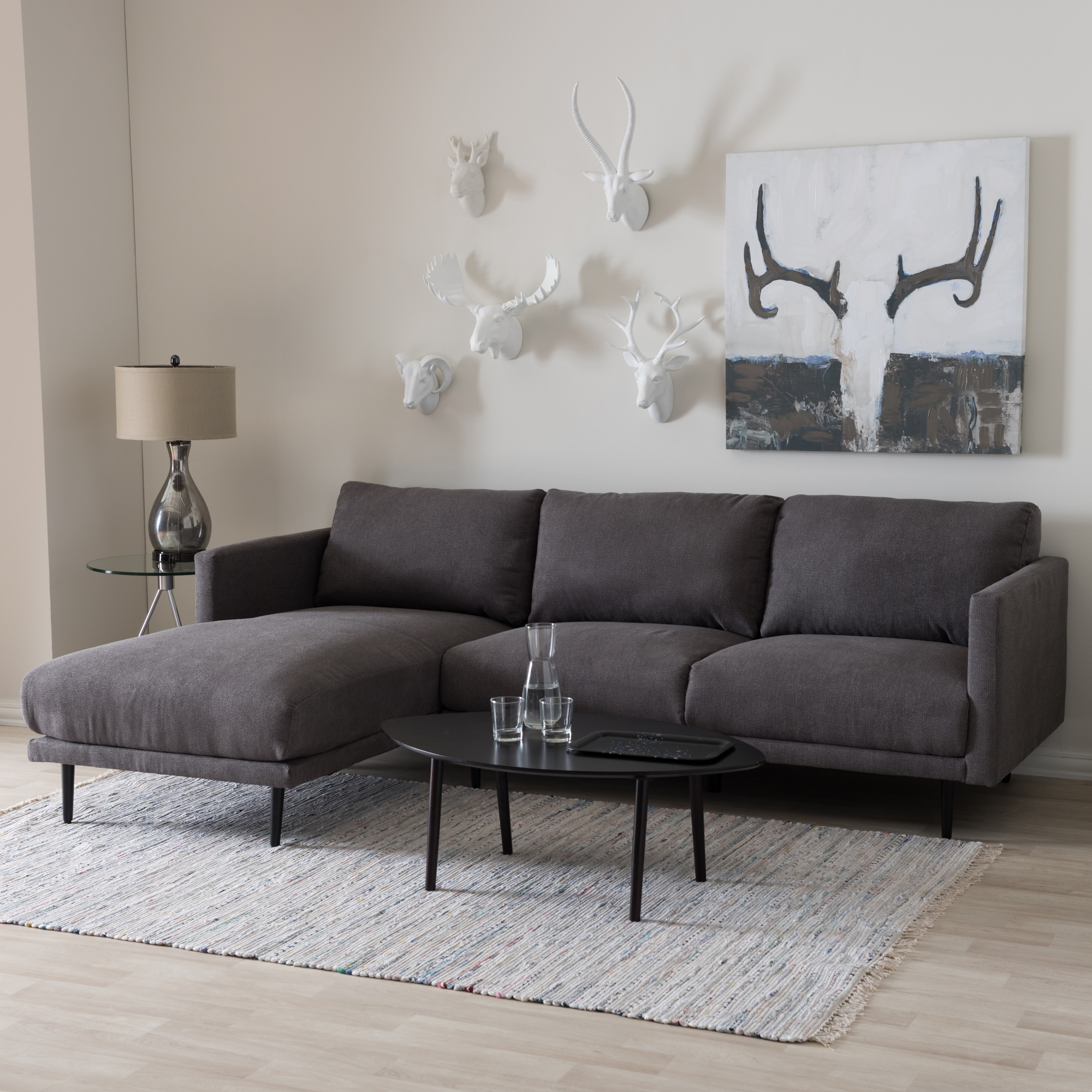 ... Baxton Studio Riley Retro Mid Century Modern Grey Fabric Upholstered  Left Facing Chaise Sectional Sofa ...