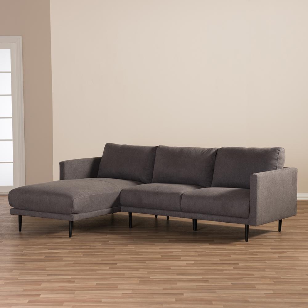 Baxton Studio Riley Retro Mid Century Modern Grey Fabric  ~ Mid Century Chaise Sofa