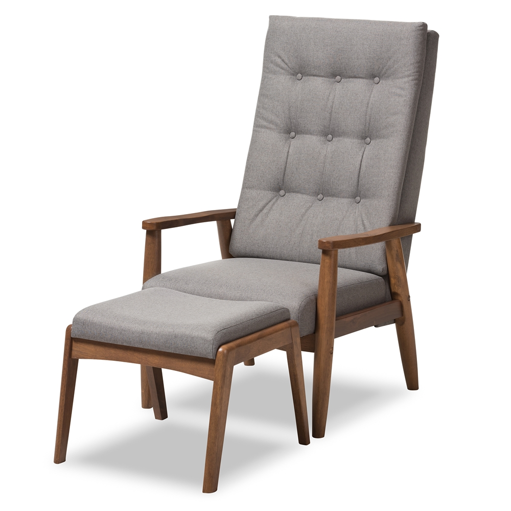 Awe Inspiring Baxton Studio Roxy Mid Century Modern Walnut Wood Finishing And Grey Fabric Upholstered Button Tufted High Back Lounge Chair And Ottoman Set Machost Co Dining Chair Design Ideas Machostcouk