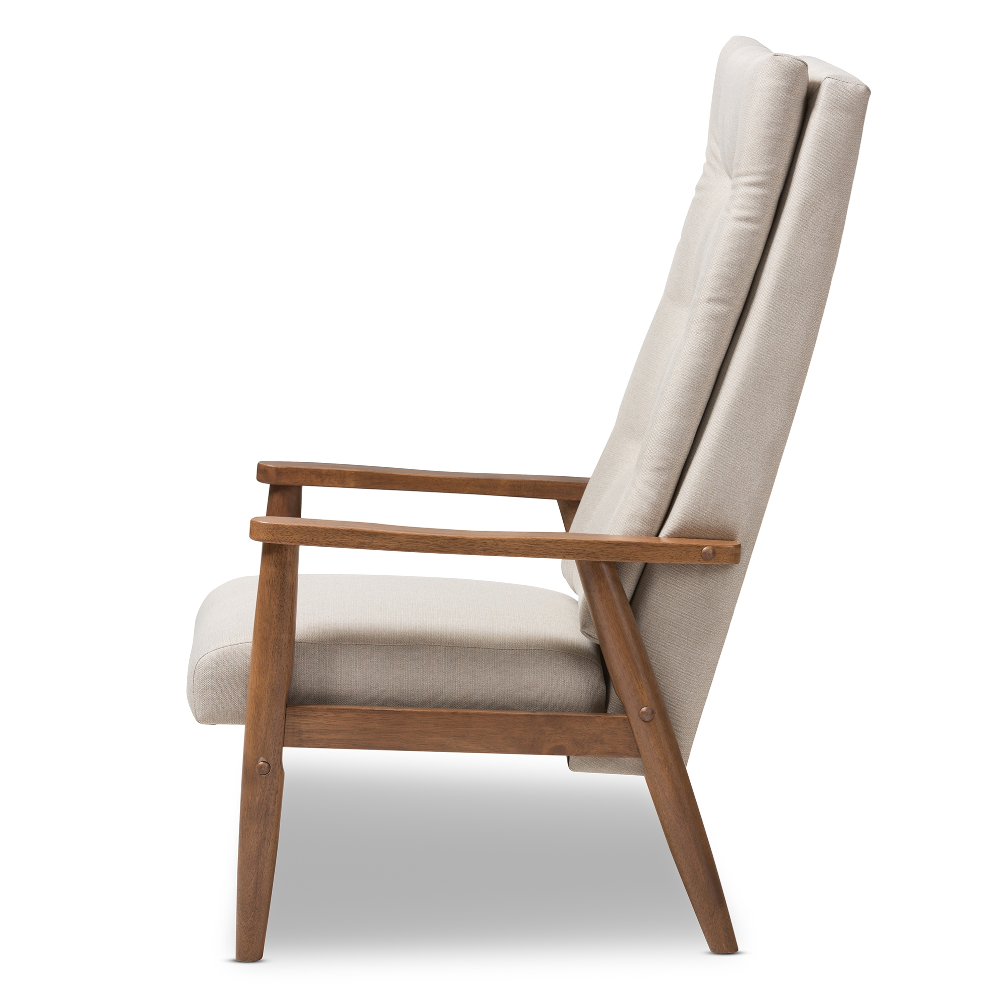 ... Baxton Studio Roxy Mid Century Modern Walnut Brown Finish Wood And  Light Beige Fabric Upholstered ...