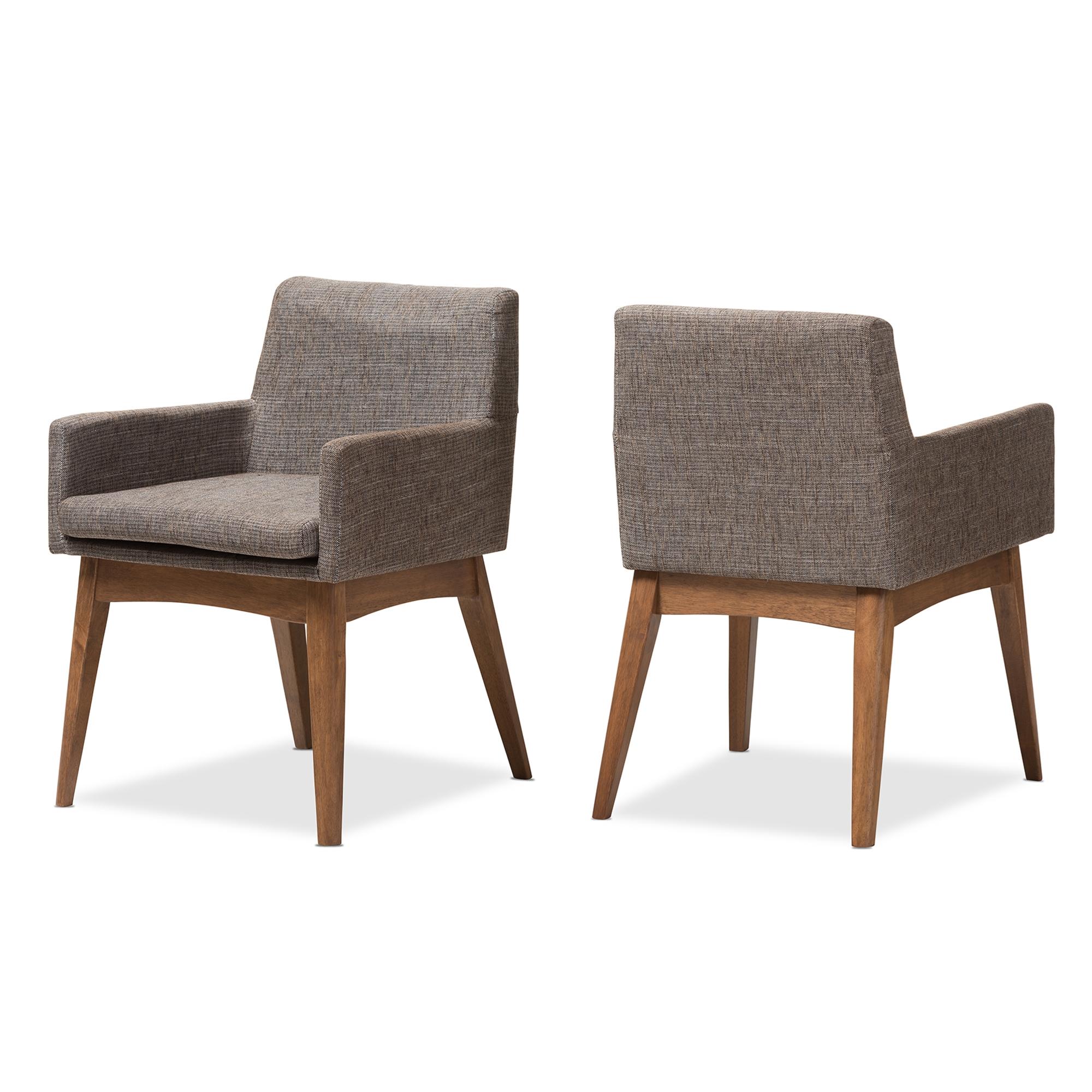 Baxton Studio Nexus Mid Century Modern Walnut Wood Finishing And Gravel  Fabric Upholstered Arm Chair ...