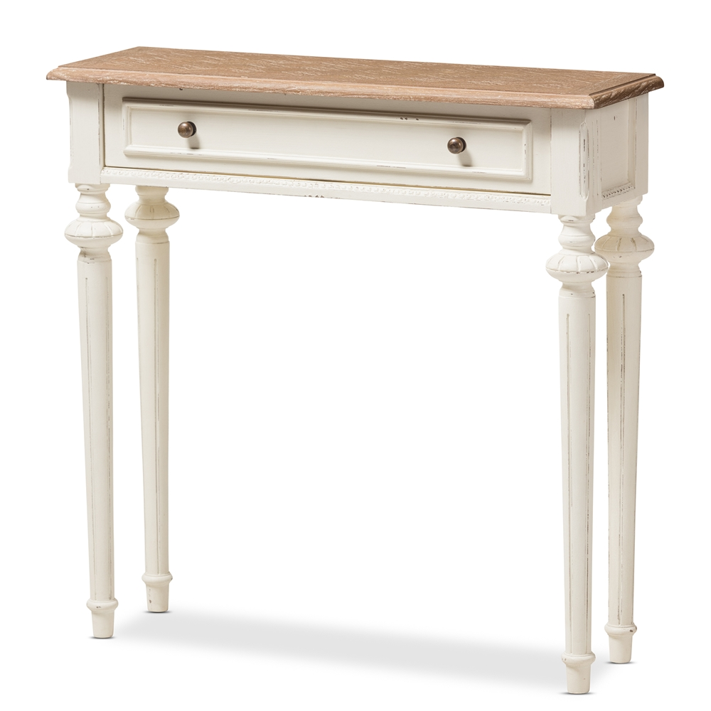 Baxton studio marquetterie french provincial style weathered oak and baxton studio marquetterie french provincial style weathered oak and white wash distressed finish wood two tone console table watchthetrailerfo