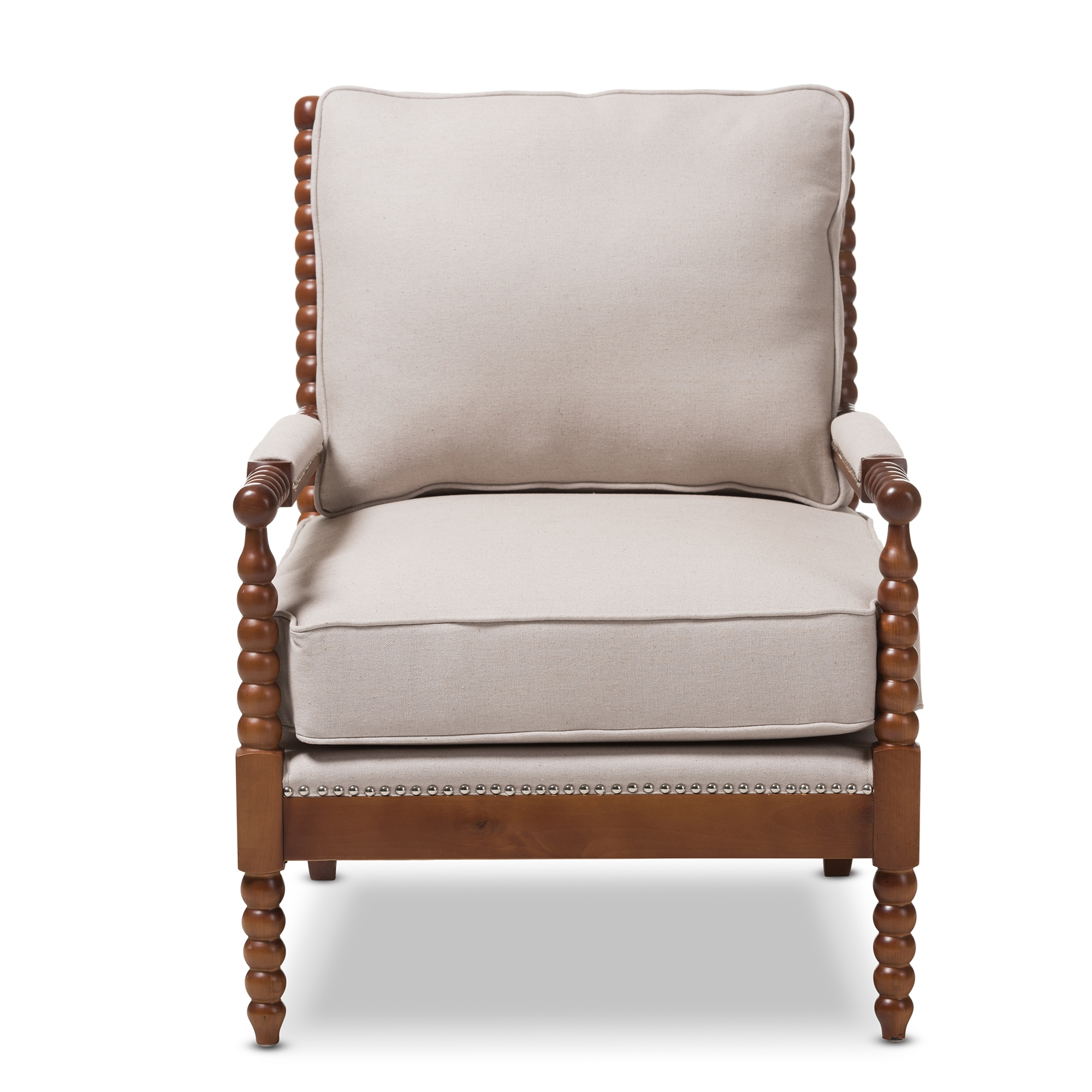 ... Baxton Studio Beaumont Modern Classic Walnut Brown Finish Wood And  Beige Fabric Upholstered Spindle Lounge Chair ...