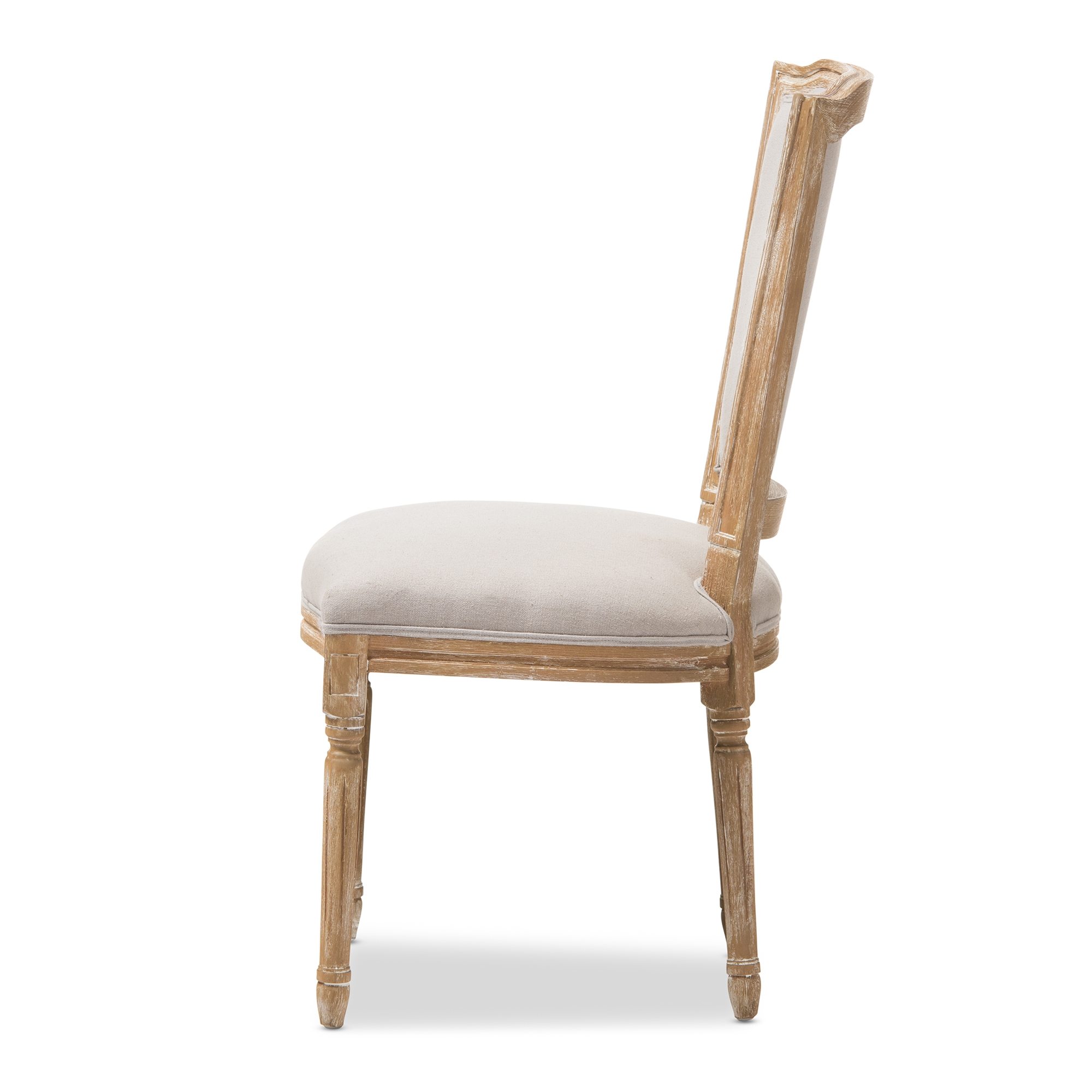 ... Baxton Studio Cadencia French Vintage Cottage Weathered Oak Finish Wood  And Beige Fabric Upholstered Dining Side ...