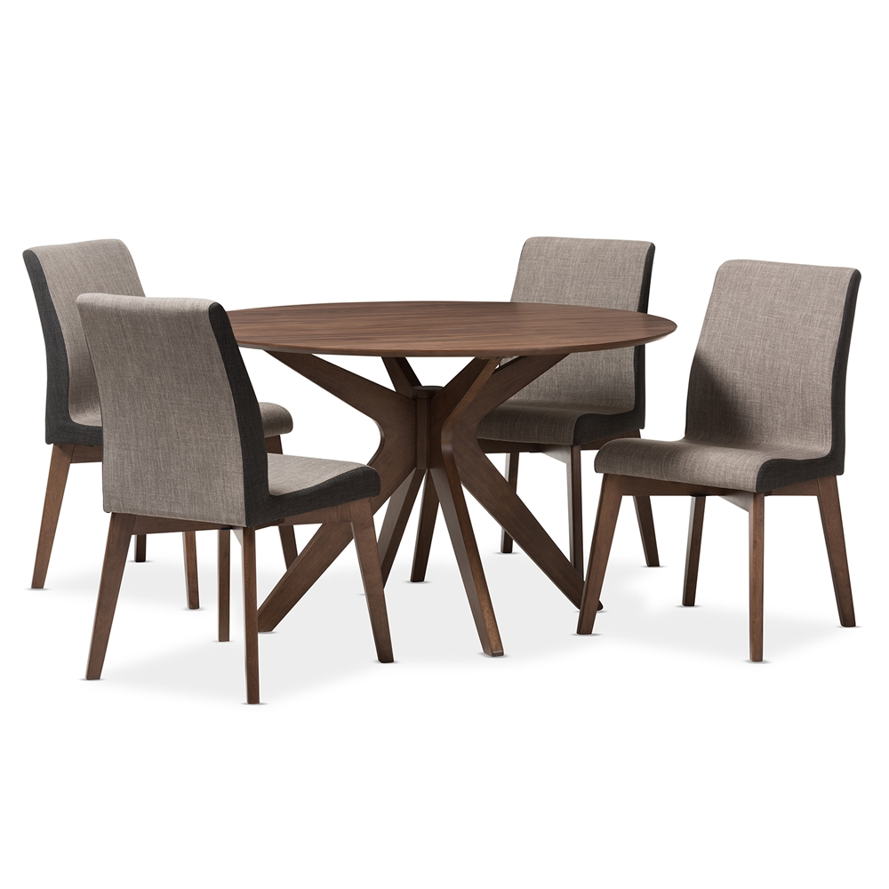 Baxton Studio Kimberly Mid Century Modern Walnut Wood Round 5 Piece Dining Set