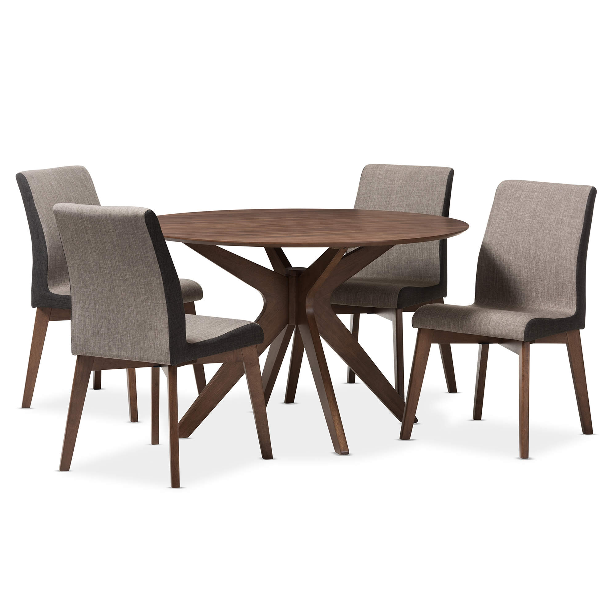 Elegant Baxton Studio Kimberly Mid Century Modern Walnut Wood Round 5 Piece Dining  Set