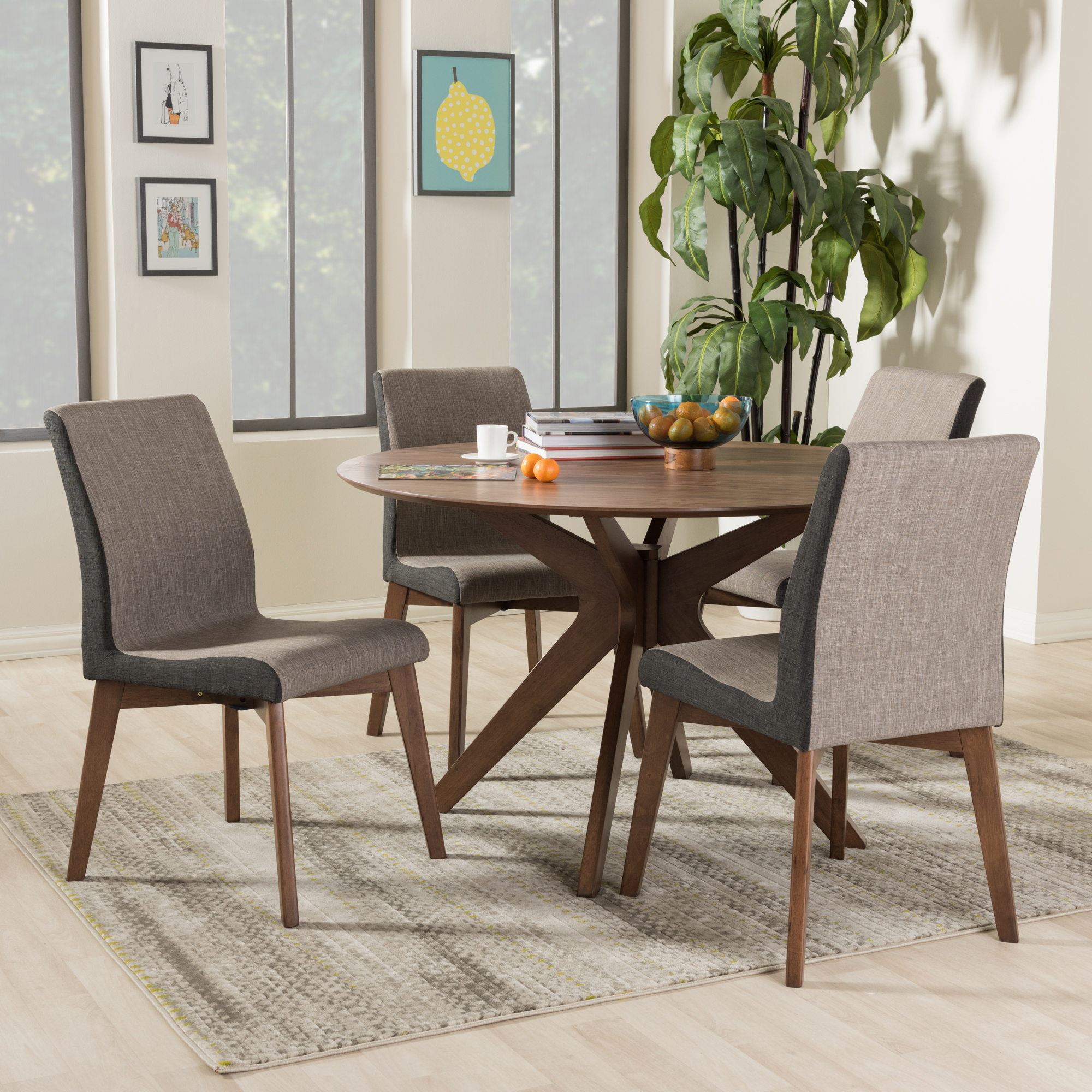 ... Baxton Studio Kimberly Mid Century Modern Walnut Wood Round 5 Piece Dining  Set