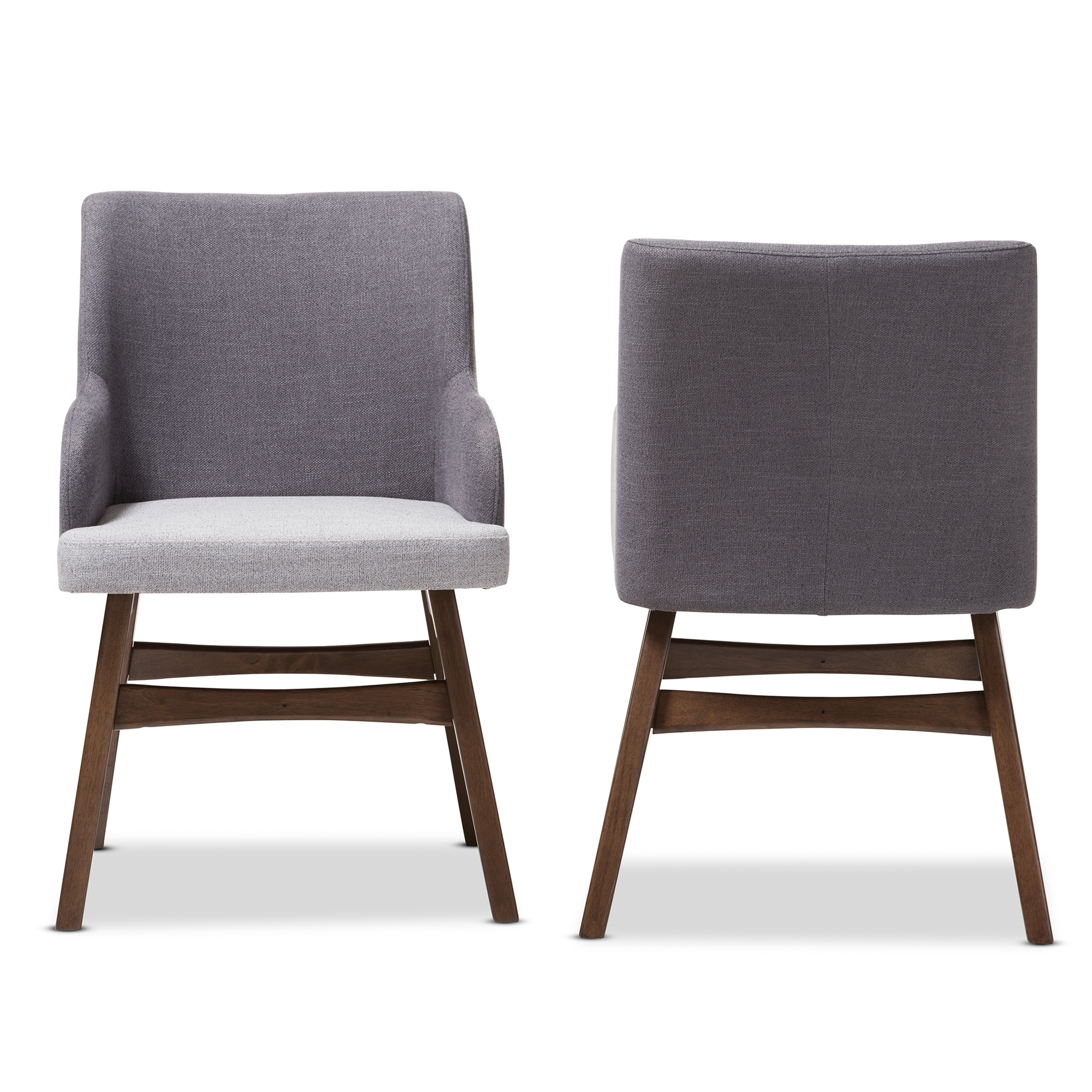 ... Baxton Studio Monte Mid Century Modern Two Tone Grey Fabric Armchair  (Set Of ...