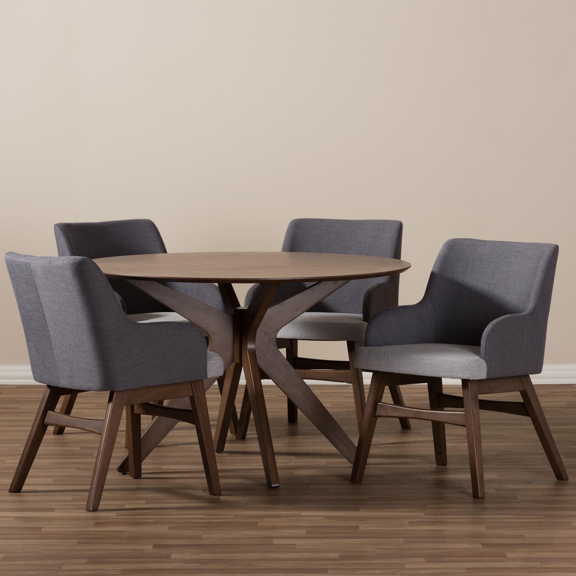 ... Baxton Studio Monte Mid Century Modern Walnut Wood Round 5 Piece Dining  Set
