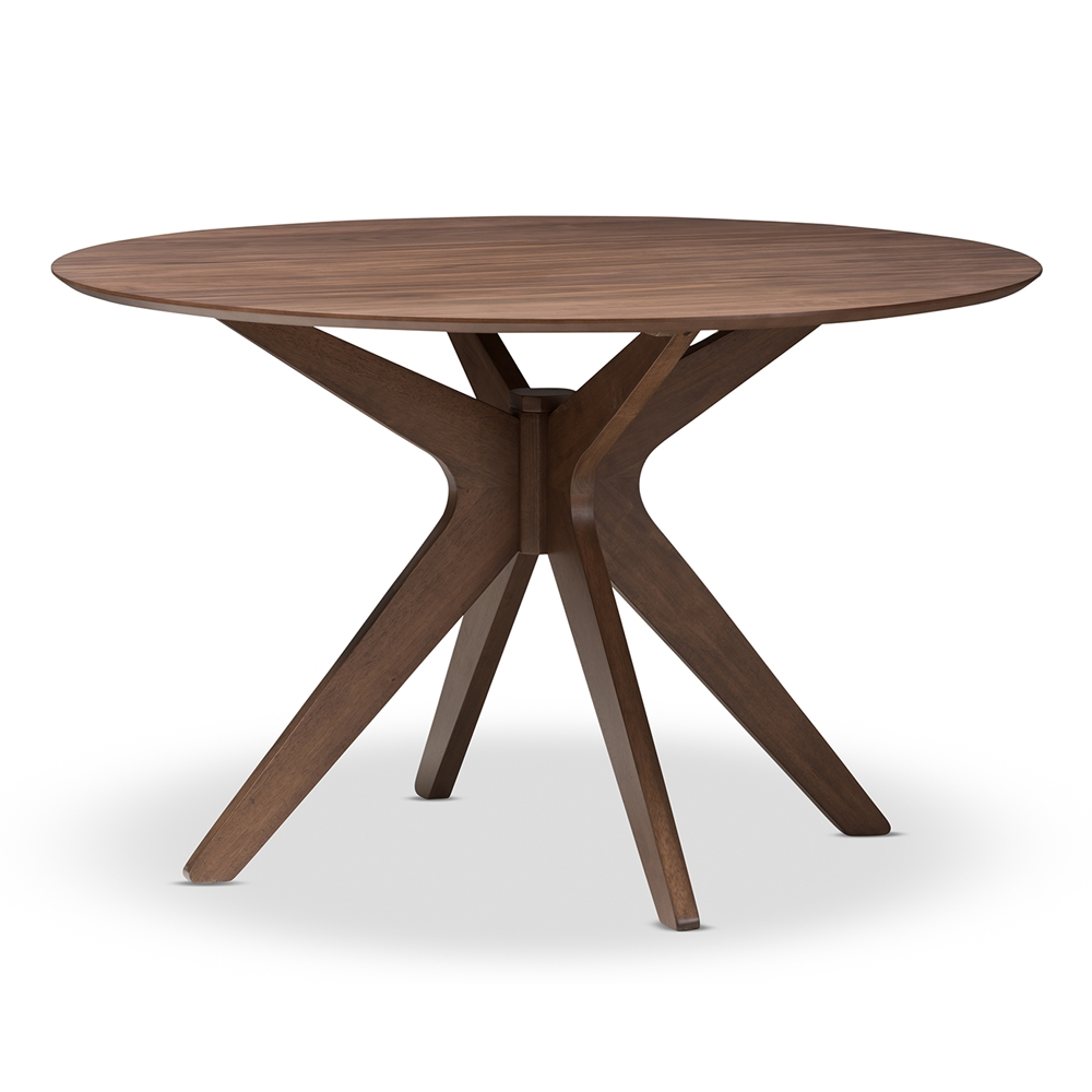 Baxton studio monte mid century modern walnut wood 47 inch for Modern round dining table