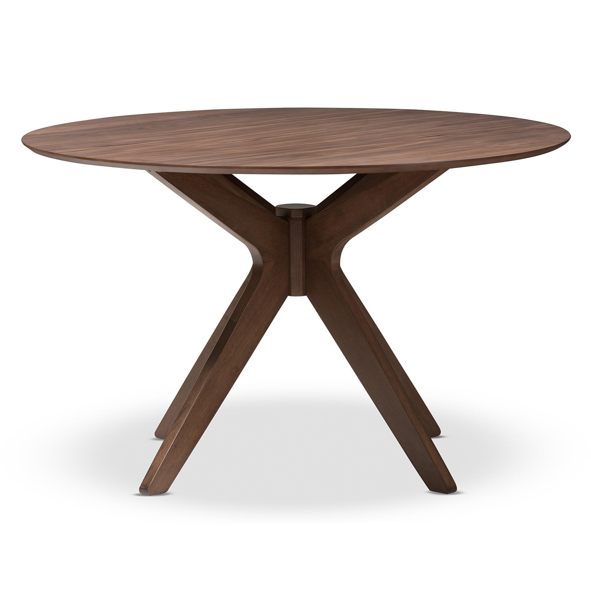 Merveilleux ... Baxton Studio Monte Mid Century Modern Walnut Wood 47 Inch Round Dining  Table ...