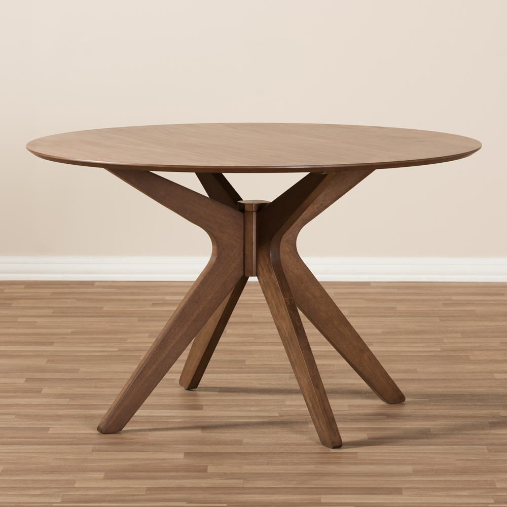 Baxton Studio Monte Mid Century Modern Walnut Wood 47 Inch Round Dining Table