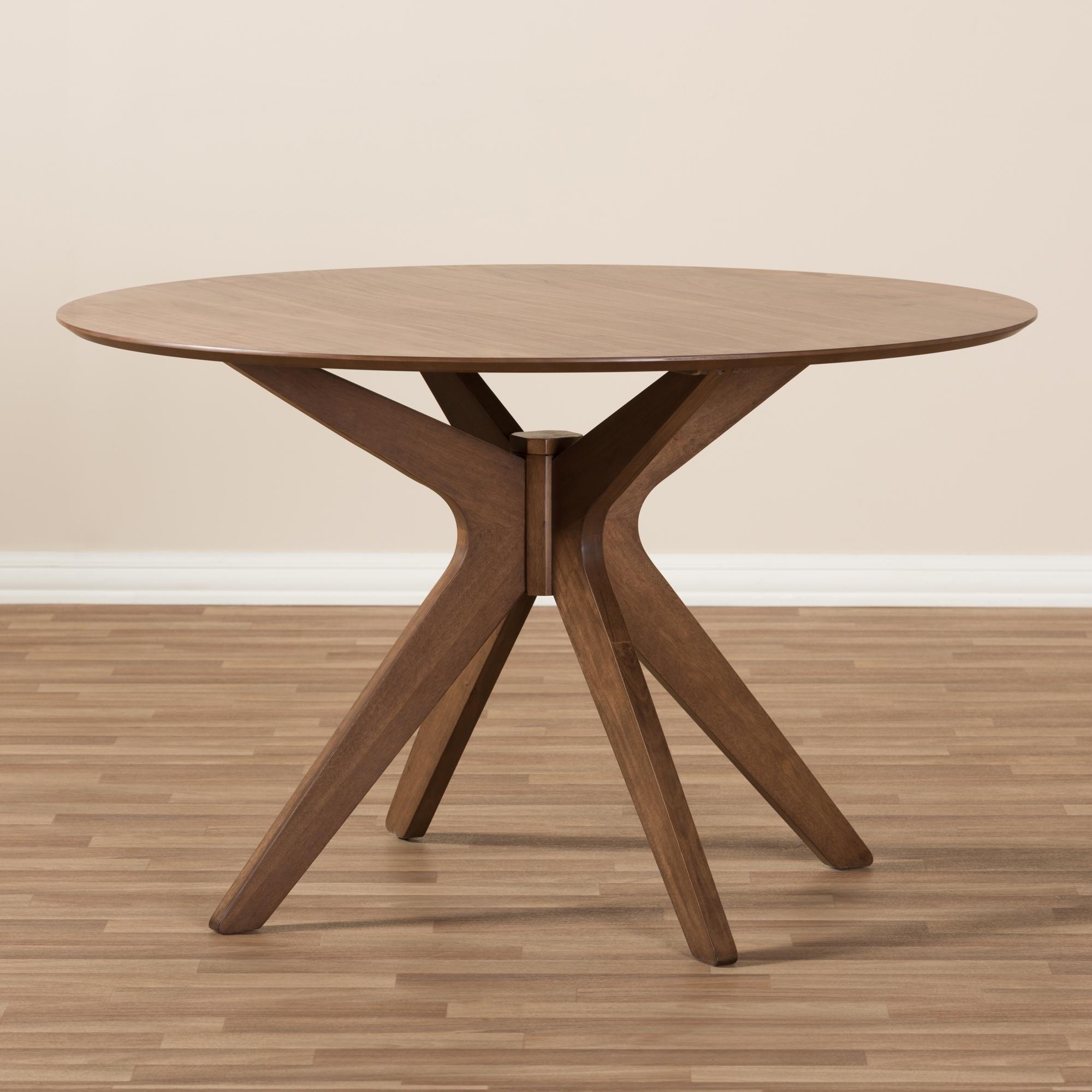 Delicieux ... Baxton Studio Monte Mid Century Modern Walnut Wood 47 Inch Round Dining  Table