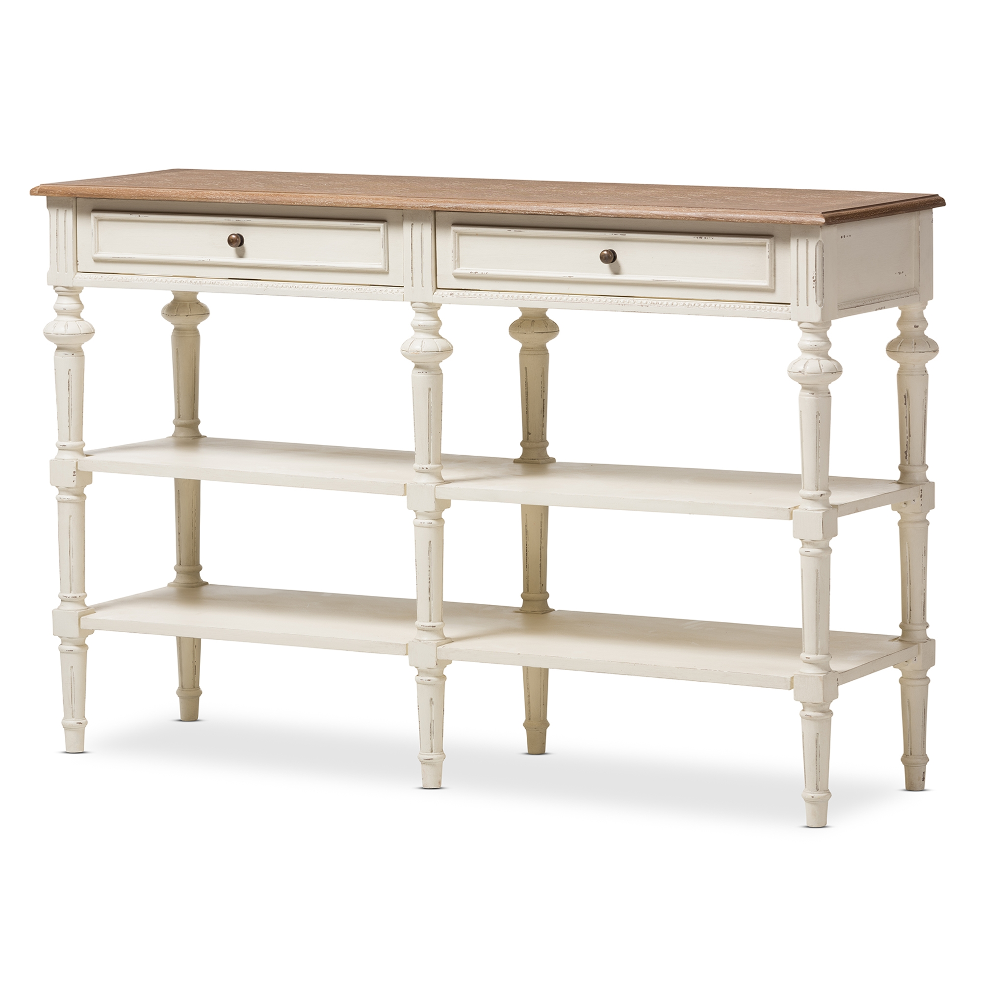 Baxton Studio Marquetterie French Provincial Weathered Oak And Whitewash  Console Table   IEPRL14VM(AR) ...