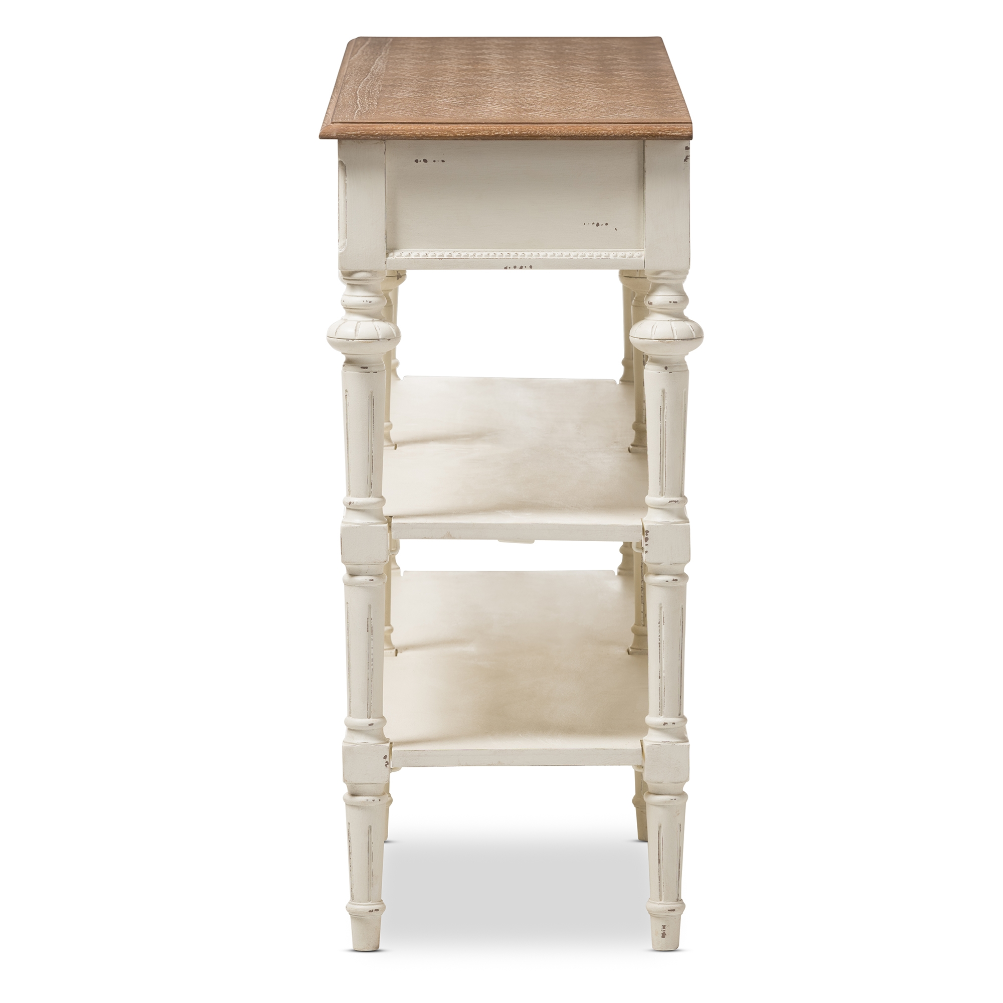 Bon ... Baxton Studio Marquetterie French Provincial Weathered Oak And Whitewash  Console Table   IEPRL14VM(AR) ...
