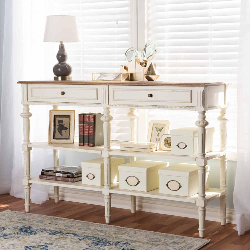 Baxton Studio Marquetterie French Provincial Weathered Oak and ...