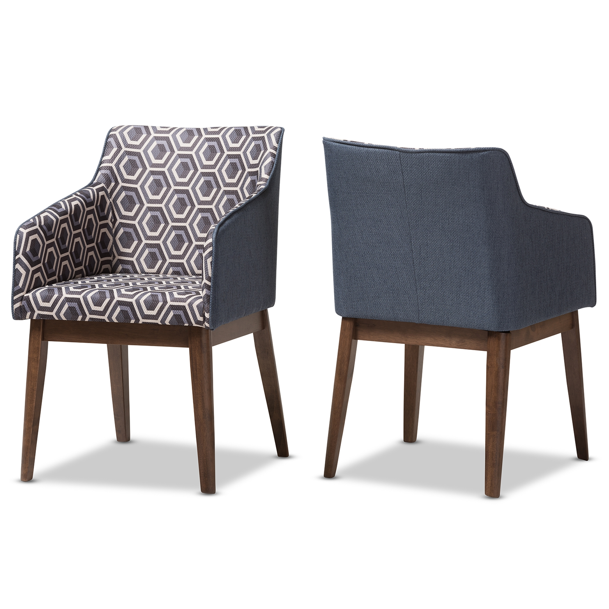 Exceptionnel Baxton Studio Reece Mid Century Modern Dark Blue Patterned Fabric Lounge  Chair (Set Of ...