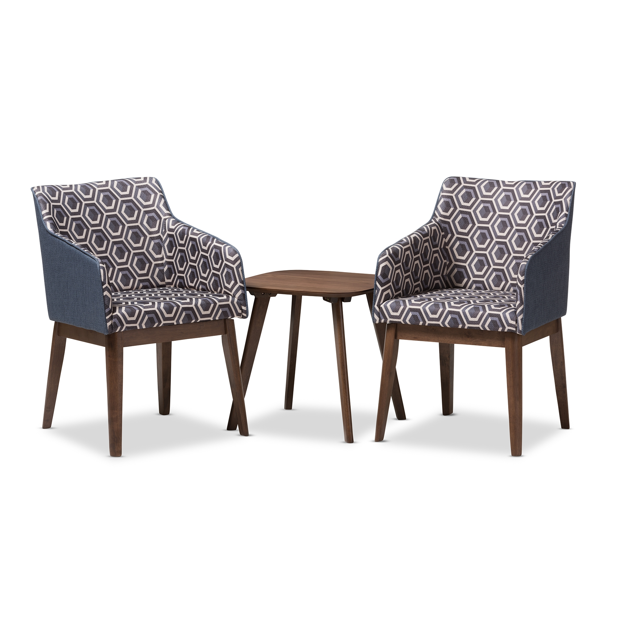 Baxton Studio Reece Mid Century Modern 3 Piece Lounge Chair And Side Table  Set