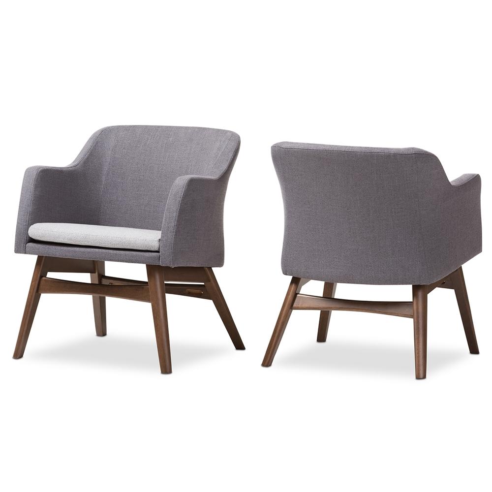 Phenomenal Baxton Studio Vera Mid Century Modern Two Tone Grey Fabric Lounge Chair Set Of 2 Machost Co Dining Chair Design Ideas Machostcouk