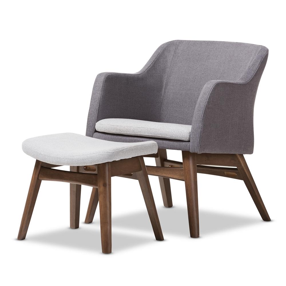 Baxton Studio Vera Mid-Century Modern Two-Tone Grey Fabric Lounge ...
