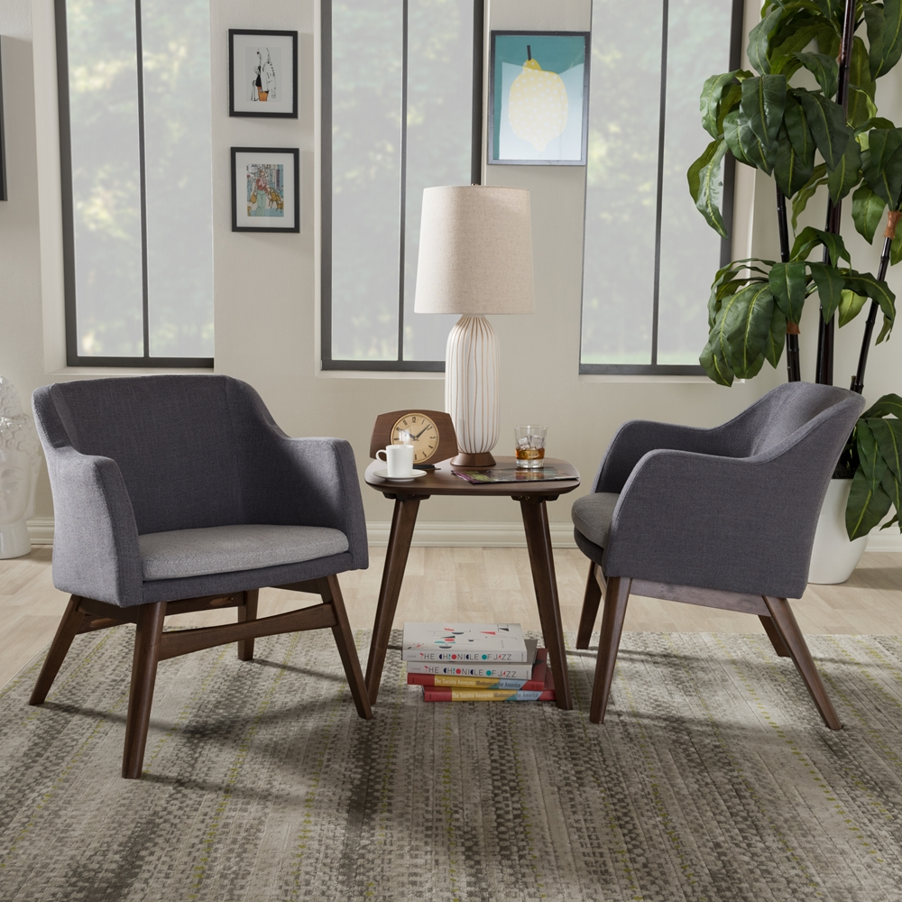 Tremendous Baxton Studio Vera Mid Century Modern 3 Piece Lounge Chair And Side Table Set Ibusinesslaw Wood Chair Design Ideas Ibusinesslaworg