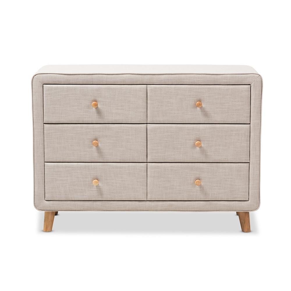 Baxton Studio Jonesy Mid Century Beige Linen Upholstered 6 Drawer Dresser Iebbt2041