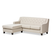 Baxton Studio Arcadia Light Beige Fabric Upholstered Button-Tufted 2-Piece Sectional Sofa Baxton Studio restaurant furniture, hotel furniture, commercial furniture, wholesale living room furniture, wholesale sofas & loveseats, classic sectional sofa