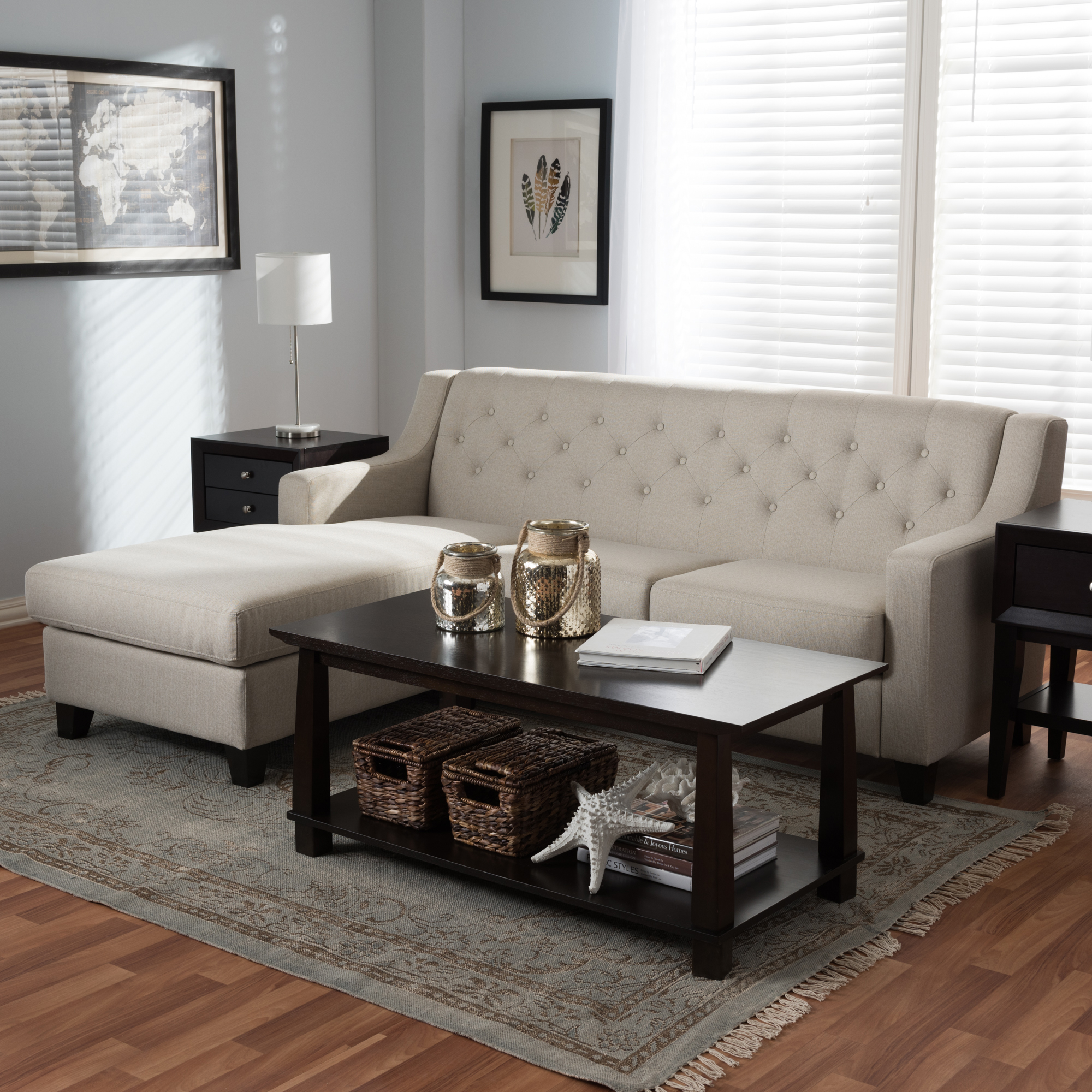 baxton studio arcadia light beige fabric upholstered 2piece sectional sofa