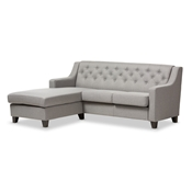 Baxton Studio Arcadia Grey Fabric Upholstered Button-Tufted 2-Piece Sectional Sofa Baxton Studio restaurant furniture, hotel furniture, commercial furniture, wholesale living room furniture, wholesale sofas & loveseats, classic sectional sofa