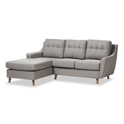 Baxton Studio Mckenzie Mid-Century Grey Fabric Upholstered Button-Tufted 2-Piece Sectional Sofa Baxton Studio restaurant furniture, hotel furniture, commercial furniture, wholesale living room furniture, wholesale sofas & loveseats, classic sectional sofa
