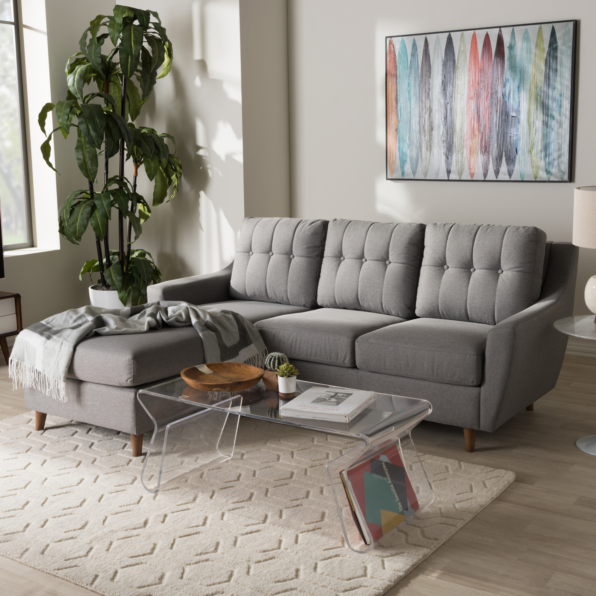 baxton studio mckenzie midcentury grey fabric upholstered 2piece sectional - 2 Piece Sectional