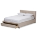 Baxton Studio Brandy Modern and Contemporary Beige Fabric Upholstered King Size Storage Platform Bed - IECF8774-Beige-King