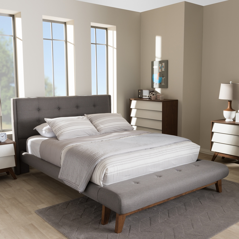 baxton studio reena modern and contemporary grey fabric full size platform bed with built in bench. Black Bedroom Furniture Sets. Home Design Ideas