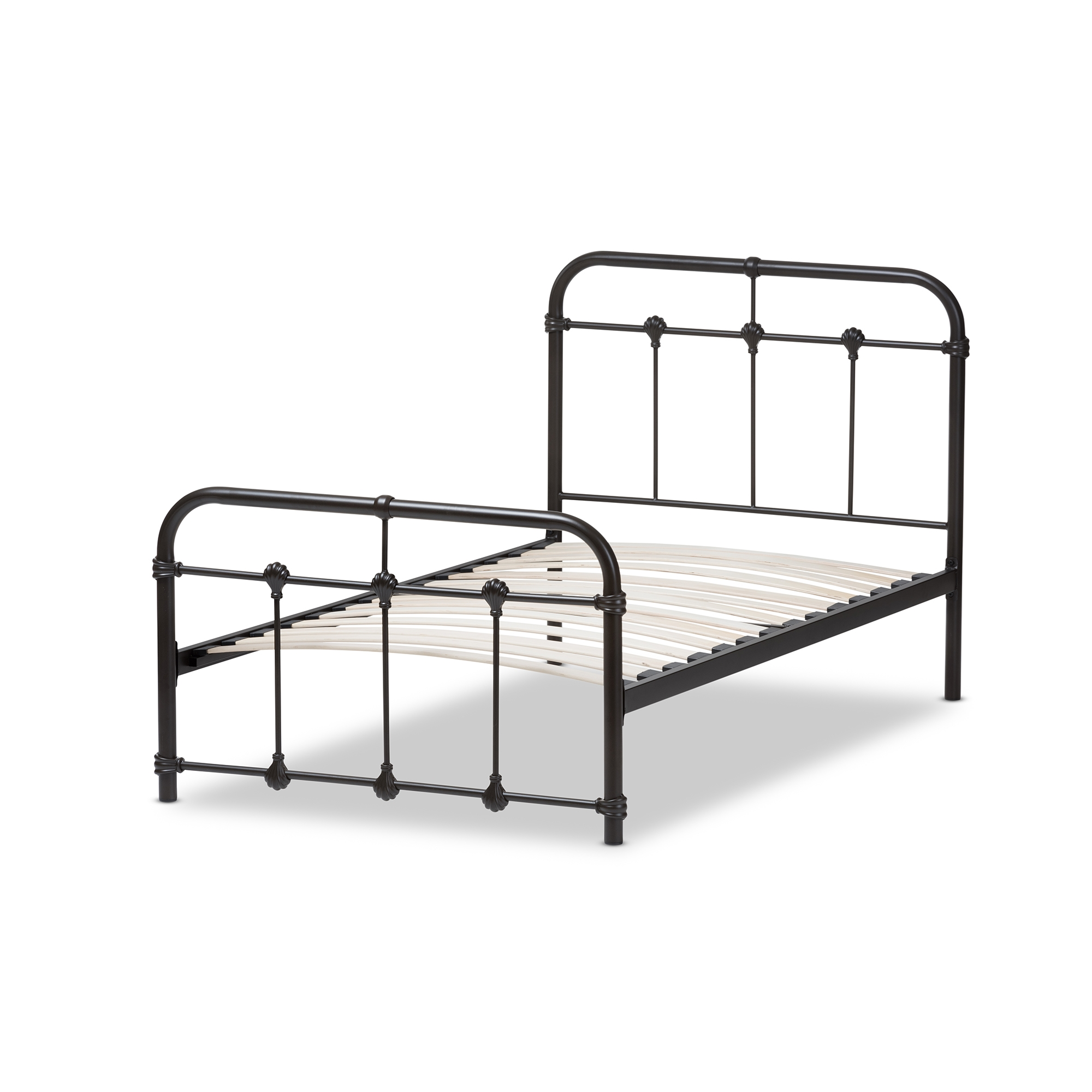 baxton studio mandy industrial style antique dark bronze twin size metal platform bed iets105