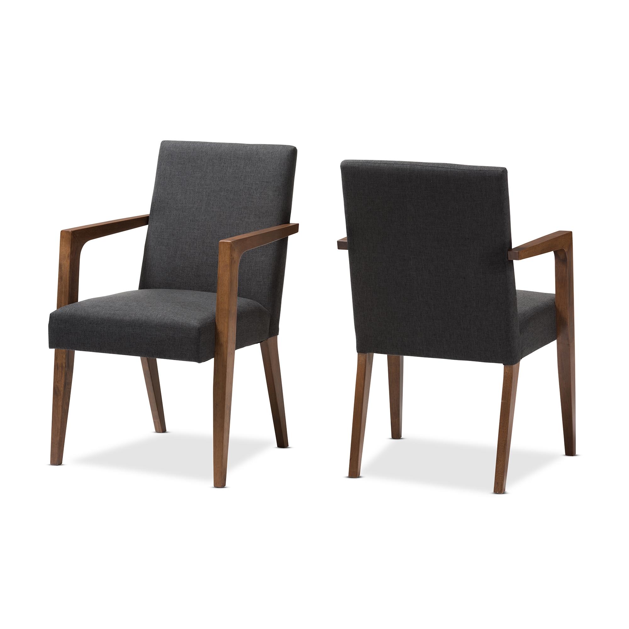Baxton Studio Andrea Mid Century Modern Dark Grey Upholstered Wooden  Armchair (Set Of 2)