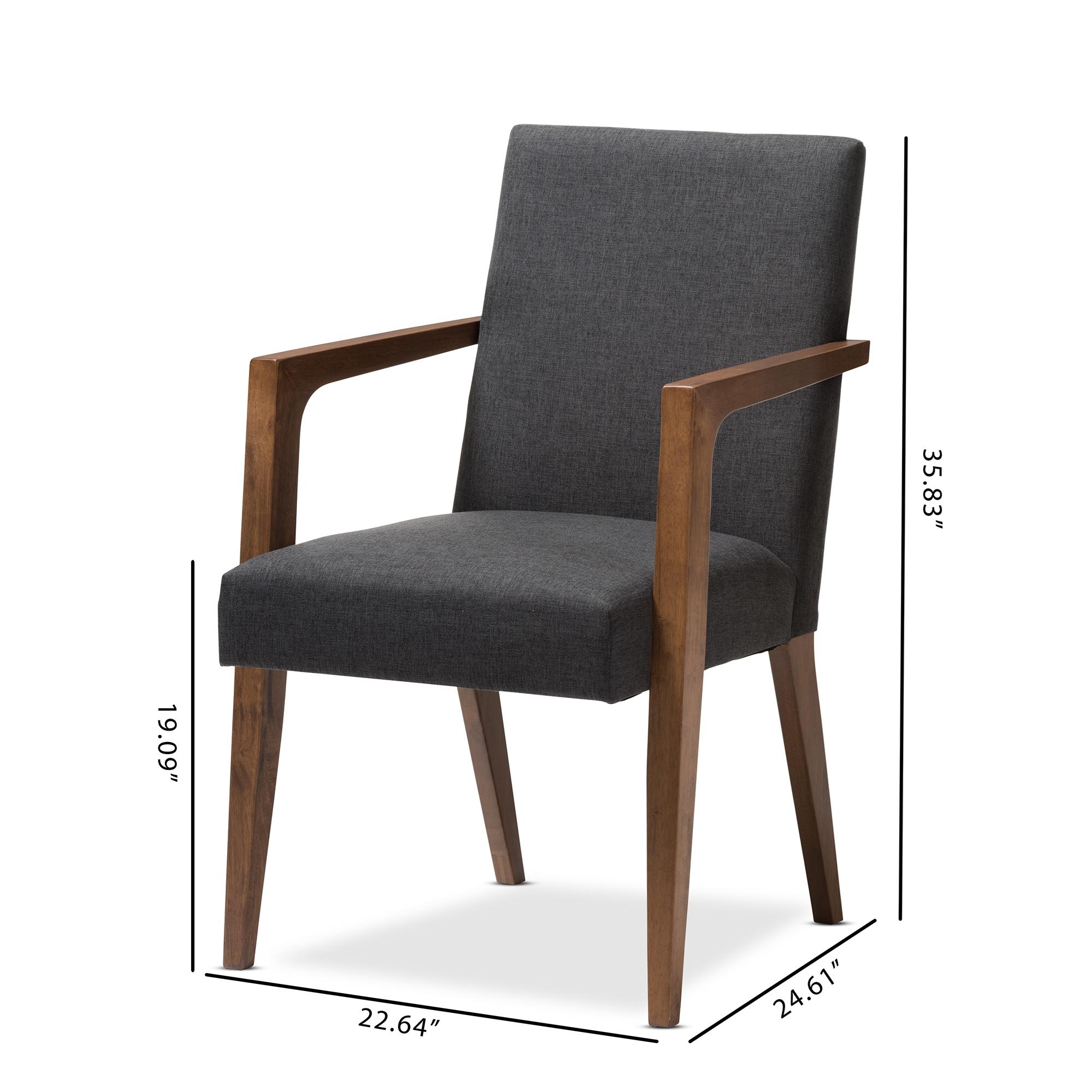 ... Baxton Studio Andrea Mid Century Modern Dark Grey Upholstered Wooden  Armchair (Set Of 2