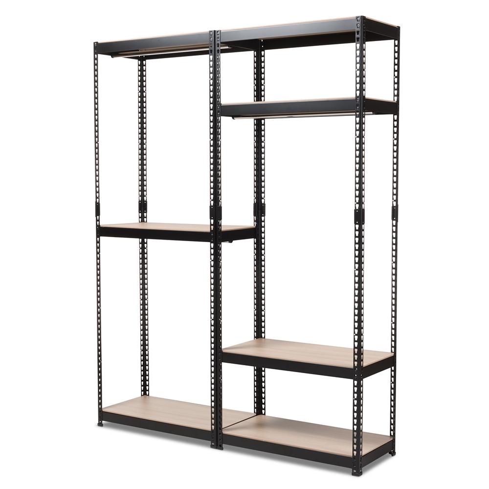Baxton Studio Gavin Black Metal 7 Shelf Closet Storage Racking Organizer Iebh06 Bh09