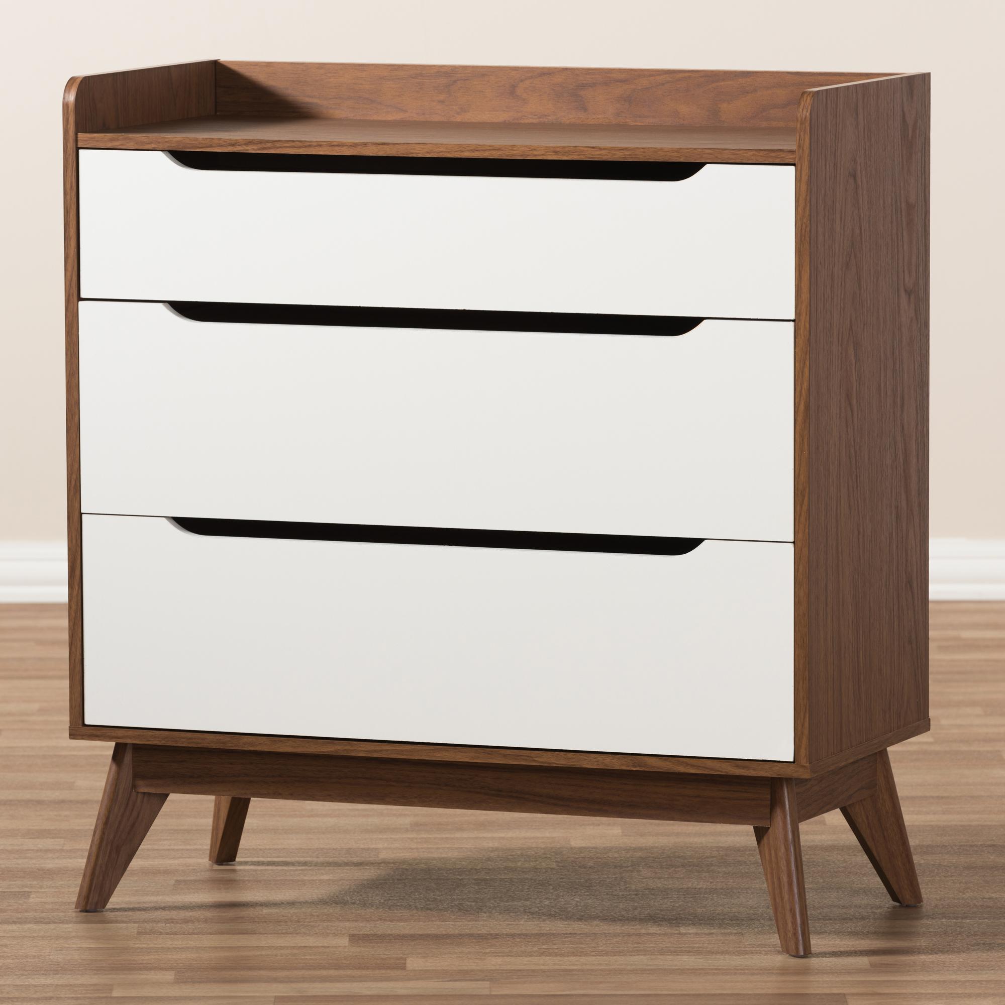 ... Baxton Studio Brighton Mid Century Modern White And Walnut Wood  3 Drawer Storage Chest ...