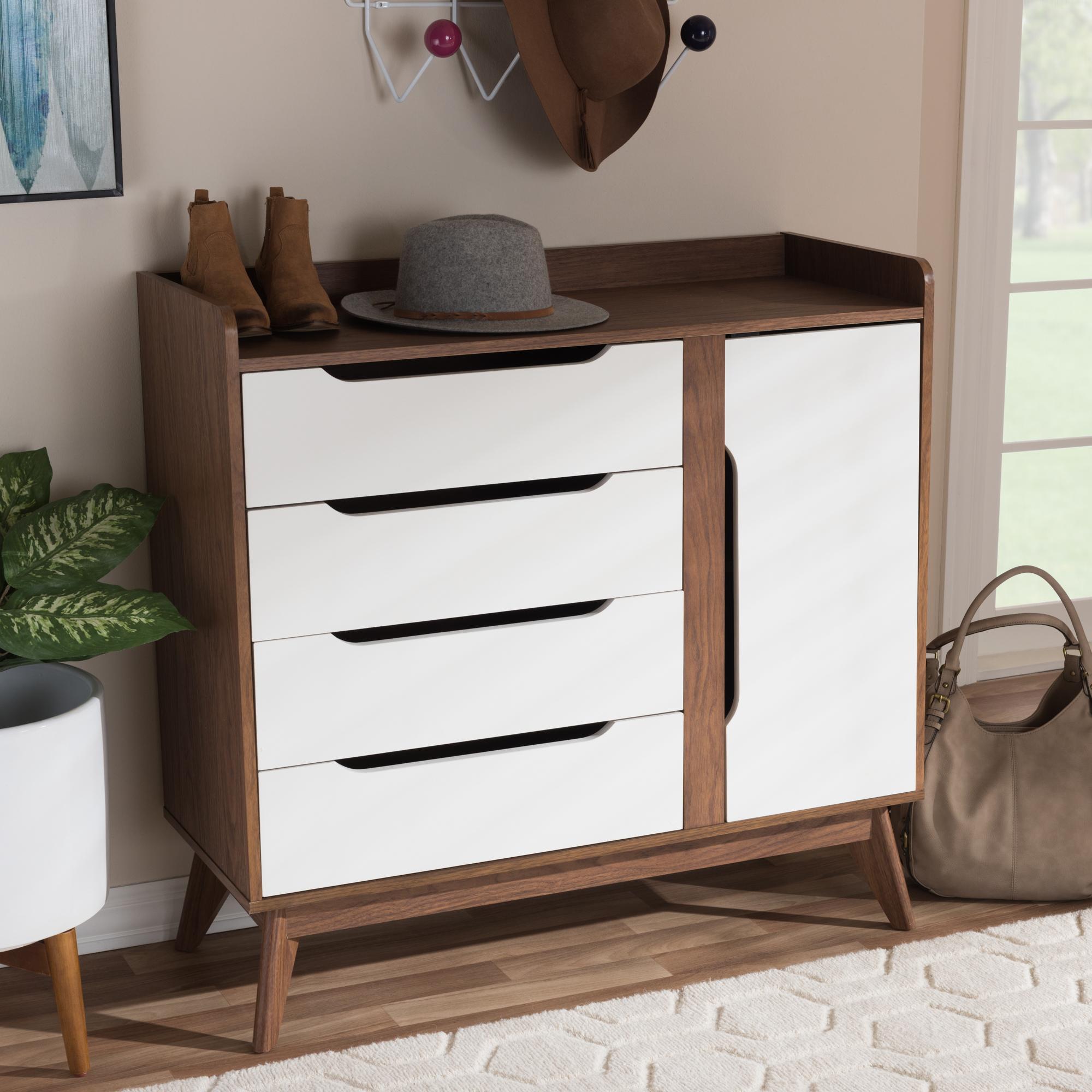 ... Baxton Studio Brighton Mid Century Modern White And Walnut Wood Storage  Shoe Cabinet   IEBrighton ...