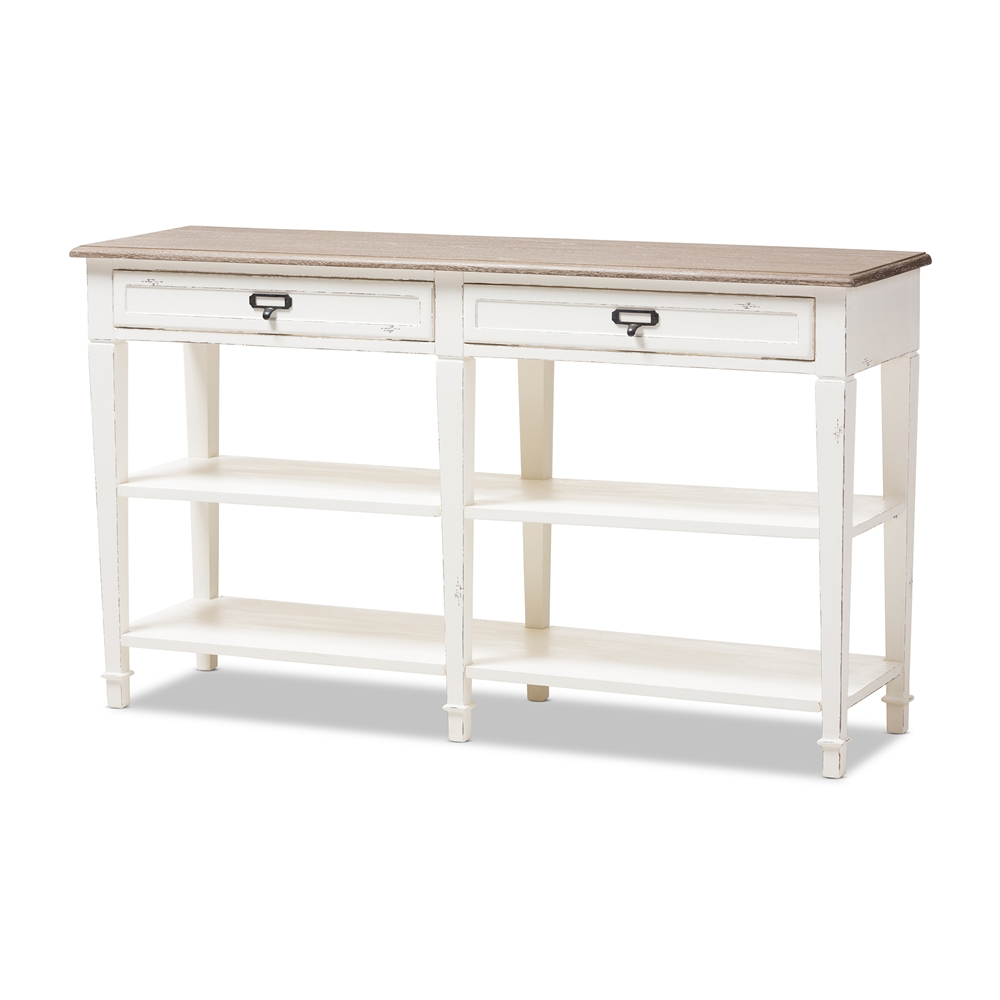 Baxton Studio Dauphine Provincial Style Weathered Oak And White Wash Distressed Finish Wood Console Table